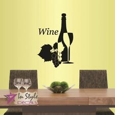 Vinyl Decal Wine Glass Bottle Grapes Kitchen Dining Room Winery Wall Decor 584