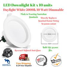 10 x LED Downlight Kit - Daylight White 5000k 10W Dimmable Anti-Glare AU plug