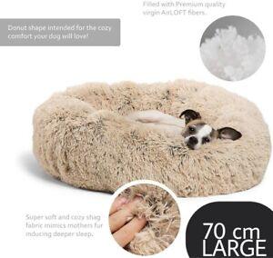 Pet bed, Calming Bed Plush Nest Warm Soft Cushion Donut Cuddler Cat Dog Puppy UK