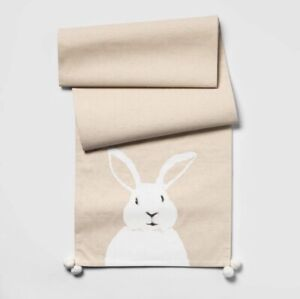 "Threshold Easter Bunny Beige Table Runner Cotton/Linen/Polyester 14 x 72"""
