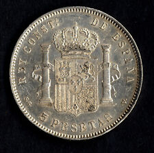 A lovely coin of the Spanish-American War * 5 Pesetas SILVER 1898 stars 18 98 XF