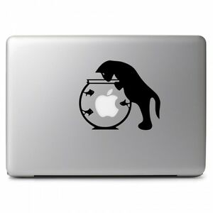 """Cat Catching Fish Vinyl Decal Sticker for Macbook Air Pro 11 12 13 15 17"""" Laptop"""