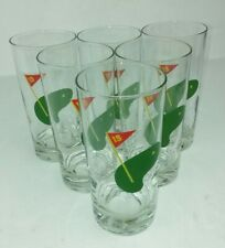 Golf 19th Hole Glasses Highball Lot of 6 Cocktail Drinking Green Flag Tumblers
