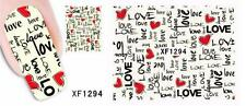 Love Red Hearts Nail Art Sticker Decal Decoration Manicure Water Transfer