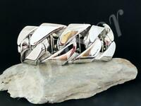 Edelstahl Herren Armband Panzerarmband Biker Armkette Panzer massiv Silber XXL