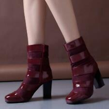 Chic Women Patent Leather Sauare Toe Ankle Boot Zip High Block Heels Shoe Casual
