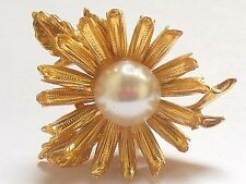 Vintage 1960's gold tone Flower Daisy pearl center pin brooch*mid century