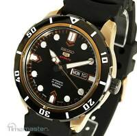 New SEIKO 5 SPORTS AUTO BLACK FACE ROSE GOLD TONE RUBBER STRAP SRP680J1
