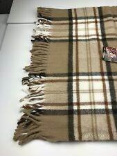 AMANA WOOLEN MILLS Blanket Brown Beige Throw Fringed USA 50