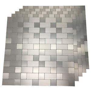 5-Pck Peel and Stick Metal Backsplash Tile Bath Kitchen Backsplash Mosaics Wall
