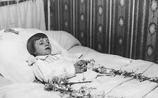 Old Photo. Postmortem - girl in bed - rosary