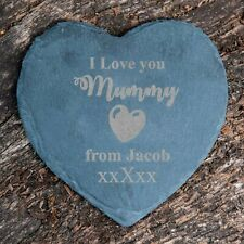 Personalised I Love you Mummy Heart Slate Drink Coaster Engraved Gift