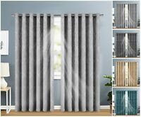 Thermal Blackout Curtains Pair of Eyelet Ring Top Ready Made Curtain + Tie Backs
