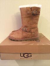 5 UGG Womens Noira Suede Winter Boots Sheepskin Chestnut 1001734 W (Youth 3)
