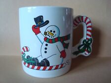 "New Snowman Christmas 10 oz Ceramic Mug 3 5/8"" x 3"" Add Hot Choc Pckt Nice Gift"