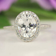 2.50 Carat Solitaire with Accents Engagement Ring Oval 14K White Gold Wedding