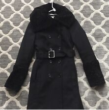 UEC!  Karen Millen Wool Trench Coat Black SZ 6 (fits Like 2/4) $595