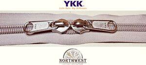 YKK Nylon Coil Zipper Tape # 10 Platinum 10 yards with 10 Nickle Zipper Sliders
