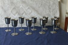 More details for 9 matching stainless steel goblets made in honk kong design 18-8