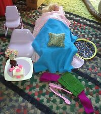 barbie doll chairs, table and bed