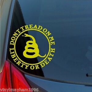 Don't Tread on Me Liberty or Death vinyl sticker decal DTOM Gadsden rattlesnake