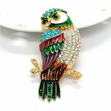 GORGEOUS NEW BIG GOLD PLATED ENAMEL RHINESTONE CRYSTAL OWL BIRD STATEMENT BROOCH
