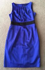 F&F Blue Stretch Lined Satin Zip Party Business Pencil Dress Size 10