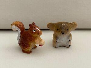 Koala Squirrel Miniature Figurines Vintage 1972 RAE Figure PVC Collectible Pair