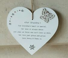 Personalised Our Grandma gift beautiful Heart Plaque granny nana nanny nannie