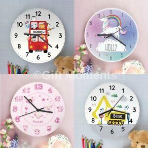 Childrens Personalised Bedroom Wall Clocks - Boys & Girls, 19 Designs, For Kids
