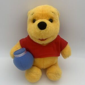 "Mattel Toys Winnie the Pooh Bear Blue Honey Pot (1997) Vintage Disney Plush 12"""