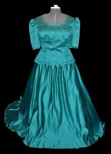 Benet Original Vintage 80s Teal Green Ballgown Formal Prom Party Dress size 26