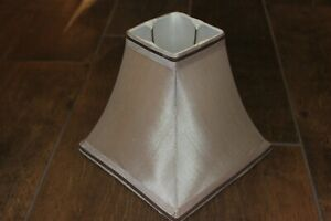 """VG Square Lampshade! Silky Beige With Brown Detail! 9"""" Bottom. 4"""" Top. 9"""" Slant."""