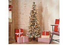 Bethlehem Lights 5' Slim Flocked Downswept Decorator Christmas Tree QVC Home Dec