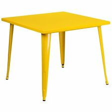 36x 36 Square Yellow Tabouret Tolix Cafe Outdoor Restaurant Bistro Metal Table