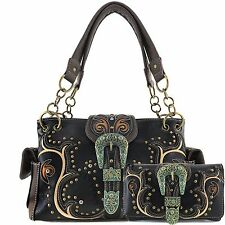 Justin West Western Rhinestone Patina Bronze Buckle Conceal Carry Purse Wallet