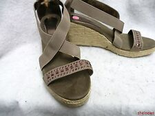 attention Wedge Heel Sandals 11M Light Brown Copper Studs VGC