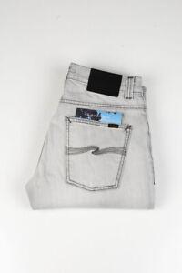 32492 Nudie Jeans Grim Tim Sunbleach Grey Hellgrau Herren Jeans Größe 31/34