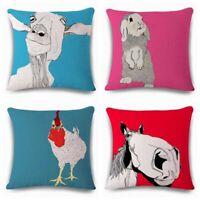 """18"""" Colour Animal Cotton Linen Throw Pillow Case Cushion Cover Home Sofa Decor"""
