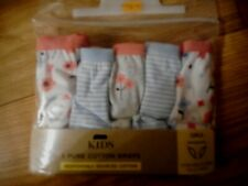 5  X MARKS & SPENCERS GIRLS  COTTON PRETTY BRIEFS   BNWT.  AGE 1.5 -2  RRP £9