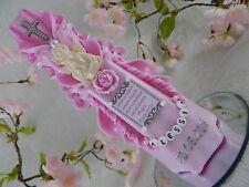 Geschnitzte Taufkerze rosa mit Kreuz Engel und Spruch Taufkerzen für Mädchen