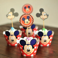 12pcs red mickey paper print cupcake wrapper & topper set for party favor