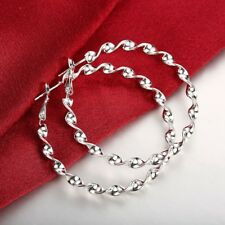 Wholesale Price 925White Gold Plated Large Wrest Line Water Wave Hoop Earring