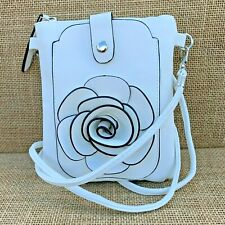 White Rose Small Bag with Smart Phone Spectacle Holder Long Cross Body Strap