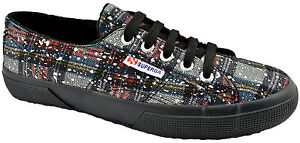$75 SUPERGA Red Blue SIlver Check METALIC MESH Sneakers Shoes NEW COLLECTION