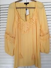 XL/1X  New Butter Yellow Crocheted Lace TUNIC BOHO PEASANT TOP Blouse 16/18/20