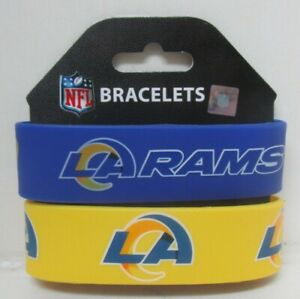 *NEW* Licensed NFL L.A. Rams rubber wrist band fan bracelet silicone cap 2 pack