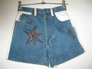 VINTAGE QUIKSILVER ROXY HIGH WAISTED DENIM BUTTON UP SHORTS SIZE 12
