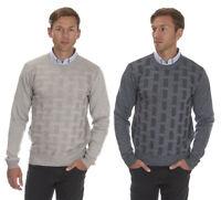 Mens Crew Neck Sweater Pullover Lattice Knitwear Jumper Smart Casual Formal New
