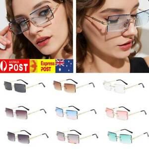 Small Rectangle Rimless Square Sunglasses 2021 Summer Style Unisex Glasses AU